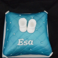 Satin Pillow Babyshower Satin look blue pillow with sugarpaste booties