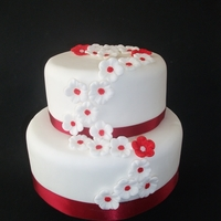 Cherry Blossom Wedding Cake A sweet & simple 2 tier sponge with trailing cherry blossom