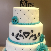 Teal And White I got two weeks notice to do this cake! Topper is from Michael's and it was my first experience doing the quilted embossed pattern. I...