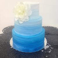 Blue Ombre A blue ombre wedding cake that I made for a wedding yesterday.. The buttercream turned out more textured than I had wanted, but I still...