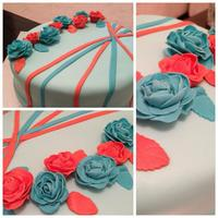 Orange And Blue Roses Cake Orange and Blue roses cake