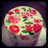Floral Cake First hand painted cake..