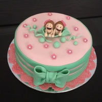 "Two Peas In A Pod Cake 8"" vanilla cake with vanilla buttercream frosting covered in fondant."