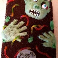 Zombie Cake I made a Zombie cake this weekend! I had a blast making this one. The cake itself was a half sheet size. I used dark chocolate cake filled...