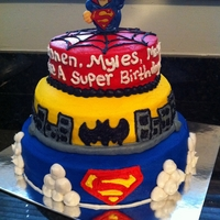 Superhero Cake Dimensions are 10 inch, 8 inch, and 6 inch rounds- all single layer and torted. The inside was white cake with strawberry filling and...