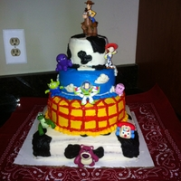 "Toy Story Cake Made this for my son's 3rd birthday. Using 10"" square, 8"" round, 6"" round, 4""round. Frosted entirely in..."
