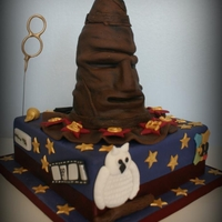 Harry Potter Sorting Hat Cake The cake was vanilla sponge layered with buttercream covered in milk chocolate ganache & fondant, the hat was layered vanilla sponge &...