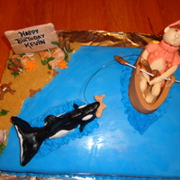 Fishermans Birthday Cake I just completed this cake for a friends 50th birthday. The look of surprise on his face when the killer whale takes his catch ...............