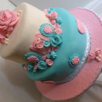 "Shabby Chic Baby Shower Cake In Pink + Teal   10"" and 7"" 2 Tier Cake with handmade sugar roses and lovely molded frames. The mom to be was in love and I was proud!"