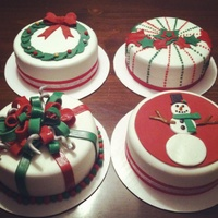8 Inch Mini Christmas Cakes Mini Christmas cakes Made for my daughters preschool teachers