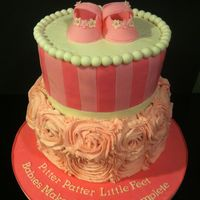 Baby Shower Cake For A Mom To Bebottom Tier Is Chic Cake Top Is Vanilla Cake All Filled With Strawberries And Cream Baby shower cake for a Mom to be...bottom tier is chic cake, top is vanilla cake, all filled with strawberries and cream.