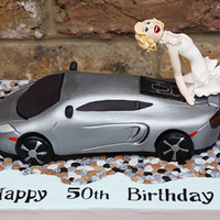 Mclaren Super Car Birthday Cake 3D Carved Cake with posing 'Marilyn Monroe' (loosely based on her)