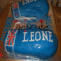 Boxing Gloves Cake   my first 3d cake.. chocolate cake and wipped cream filling, covered with fondant