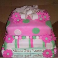 Two Tiered Fondant With Gumpaste Bow Flowers And Banner   Two tiered fondant with gumpaste bow, flowers, and banner