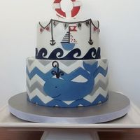 Nautical Baby Shower Cake This cake was inspired by Sadie & Scout nursery bedding.