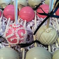 Engagement Party Cake Pops In Cute Pink And White   *Engagement party cake pops in cute pink and white