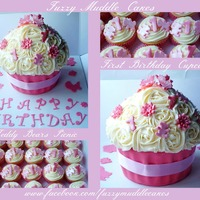 1St Birthday Giant Cupcake And Matching Mini Ones 1st Birthday Giant Cupcake and matching mini ones