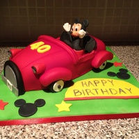Mickey Mouse Car Red Velvet Mickey Mouse Car Cake