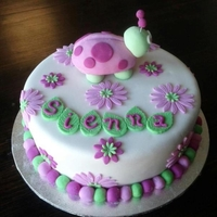 Ladybettle (Pink & Green) 10 inch Chocolate Fudge Cake, dirty iced with butter cream and covered in white fondant. I made this cake for my friend's daughter&#...