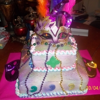 Sweet 16 Buttercream Cake With Mardi Gras colors