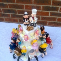 21 Figures ! Cake I made for my sister in law and her 25th wedding anniversary. The characters are the entire family !