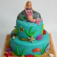 Mermaid On An Ocean Cake I made this cake for the fifth birthday of my niece