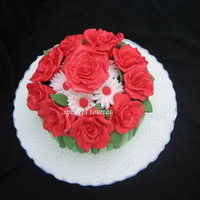Roses Daisies Bouquet Cake Roses-daisies bouquet cake