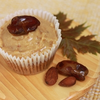 "Maple Almond Date Cupcake This yellow cake is iced with a delicious maple, almond date icing that can be found in an ebook called ""Icing Only"""