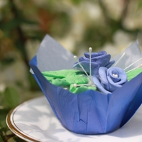 "Periwinkle Cupcake Hand made periwinkle gumplaste flowers on a cupcake in a periwinkle wrapper. (gumpaste recipe taken from ""Icing Only"" an recently..."