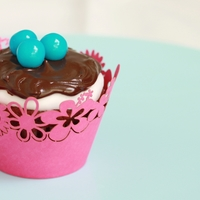 Robin Egg Cupcake  This cupcake has a layer of Basic Fondant covered with Milk Chocolate Ganache with three robin egg blue candies on top. Both icing recipes...