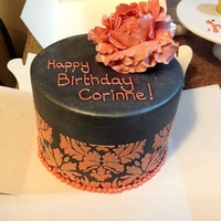 Peach Peony Birthday Cake   Looks a little like a hat box, peach gum paste peony with stenciling.