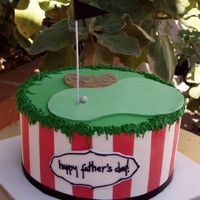 Father's Day Golf Cake A father's day golf cake, the vertical stripes are the Dad's fave football team and the top is a teeny tiny golf hole complete...