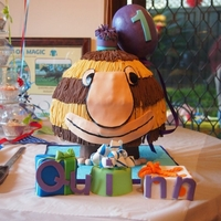Grug   A Grug birthday cake for a 1st birthday! Based on the book, Grug has a Birthday.