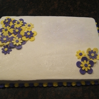 "Purple & Yellow Button Flower Sheet Cake I made this cake for the workers at my church's VBS, but the design would also work great for a birthday cake. It is a 12""x18&..."