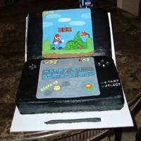 Nintendo Ds Super Mario Bros. Nintendo DS Birthday cake. Screen made with fondant and royal icing