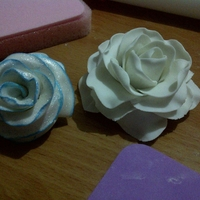 Roses #1 & 2 First (in blue) and second (white) attempts at a gumpaste rose.