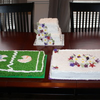 Bridal And Grooms Cake Brides cake was 2 eight and 2 six inch cakes. Then two extra cakes Grooms cake was Red Velvet and the extra cake was chocolate. The cakes...
