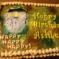 Uncle Si Duck Dynasty , Camoflauged Uncle Si from Duck Dynasty. with MMF decoration on buttercream . Cake is half and half. Thanks for looking. Have a blessed day.