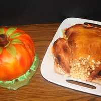 Pumpkin And Turkey Cakes Pumpkin two layer white cake with butter cream icing. Airburshed and the turkey was fun to make. Happy Thanksgiving to all.Thanks for...