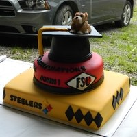 Graduation Cake This was a graduation cake for a friend of mine, who is a Steelers fan and loves bulldogs. I made the bulldog out of modeling chocolate.