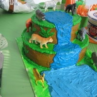 Jungle Animal Cake My son's first birthday cake. Also the first decorative cake I've ever made :):):)