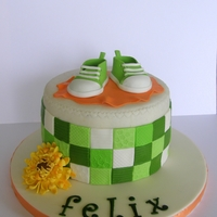Felix Chocolate cake filled with strawberry mousse and After Eight fluff. Decorations are sugarpaste.