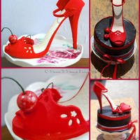 My Inspiration For This Cake Was The Very Chic Red Sandal And Cherries First Time Making A Gumpaste Shoe   My inspiration for this cake was the very chic red sandal and cherries :) First time making a gumpaste shoe :)