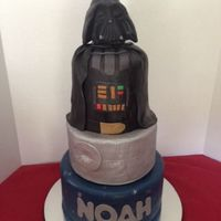 "Three Tiered Darth Vader Cake 10 8 And Double Barrel 6 Tiers Are Covered In Marshmallow Fondant The Head Is Sculpted Rice Krispy Three tiered Darth Vader Cake. 10"", 8"", and double barrel 6"". Tiers are covered in marshmallow fondant. The head is sculpted..."