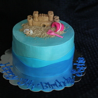 "Sandcastle And Sea Shells With Bucket And Shovel In The Sand 8 Round 4 Layer Cake Covered In Buttercream With Marshmallow Fondant Waves A Sandcastle and sea shells with bucket and shovel in the sand. 8"" round 4 layer cake covered in buttercream with marshmallow fondant..."