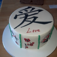 Asain Inspired Cake Fondant covered cake with stenciled Chinese 'love', molded bamboo, everything else is hand piped