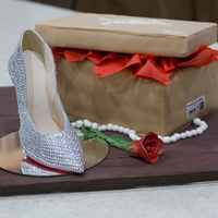 Christian Louboutin Shoe Cake Red Bottoms Decollete 554 Strass Model.