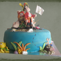 "Pirate Cake (Piet Piraat) A cake for a boy fan of ""Piet Piraat"" a belgium tv show, all the main characters are included."