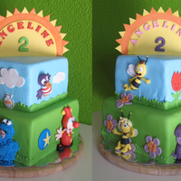 "4 Themes On One Cake For a Little girl a cake with four of her favourite series; Elmo & cookiemonster, Jokie & Jet (from dutch themepark ""Efteling&..."