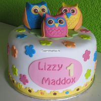 Owl Cake Cake for the 1st Birthday od Lizzy Maddox, owls were based on card send to announce birth.